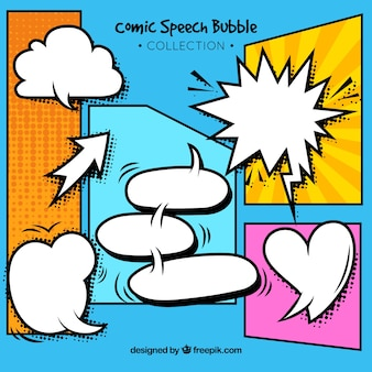 Expressive comic style speech bubbles collection