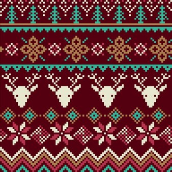 Fabric texture with reindeer and snowflakes