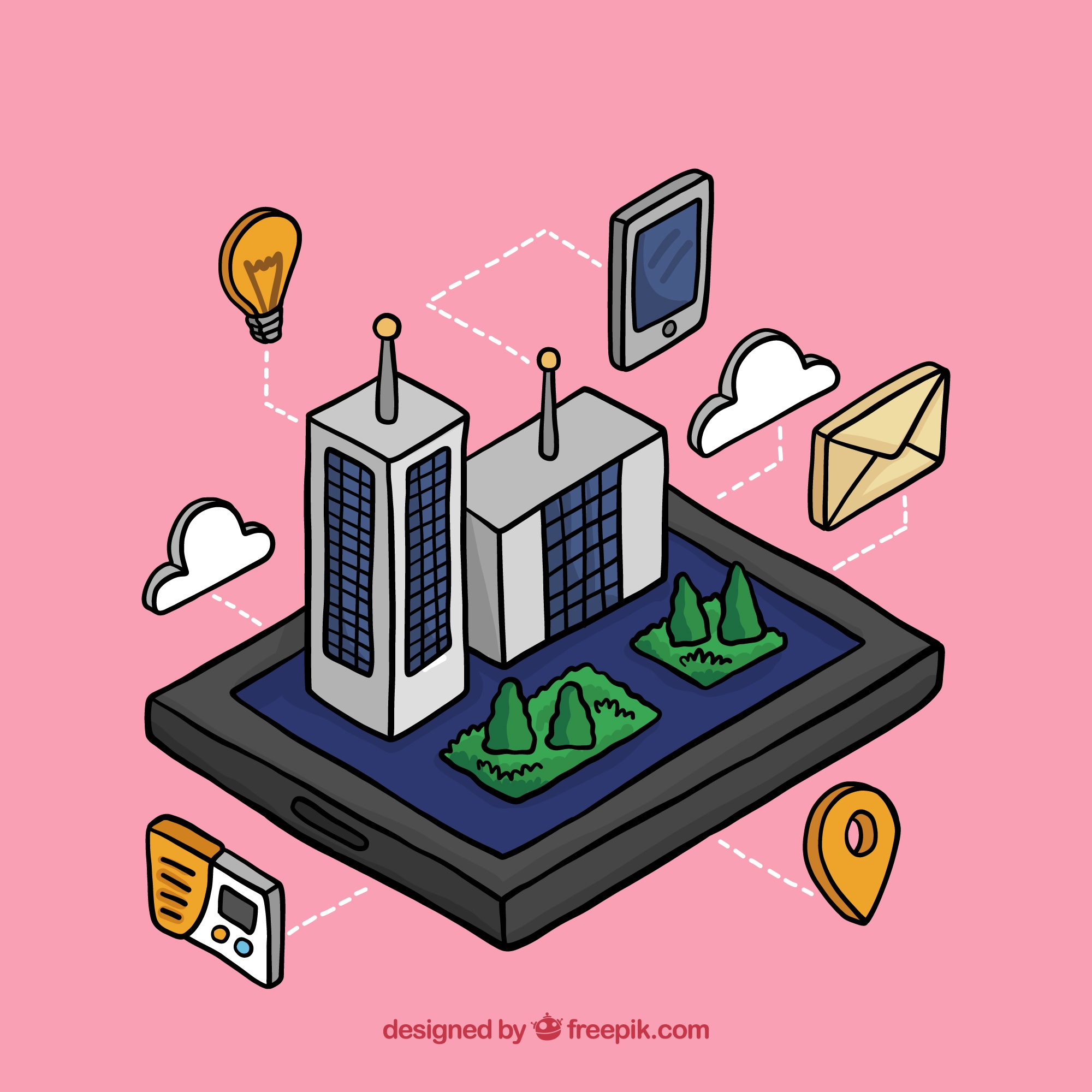 Facade of buildings with elements in isometric style