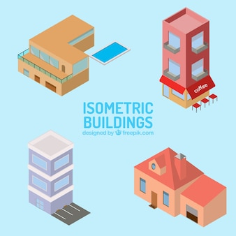 Facade of isometric houses collection