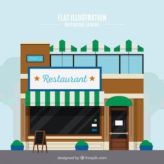 Facade restaurant in flat design