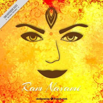 Face on a yellow background of Ram Navami