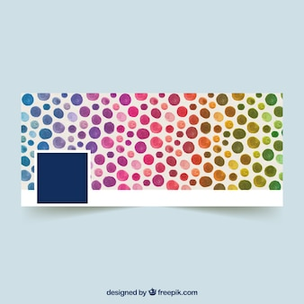 Facebok cover with colored watercolor circles
