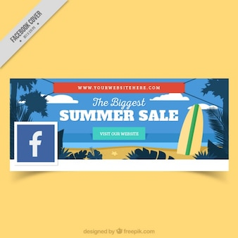 Facebook cover of beach with surfboard