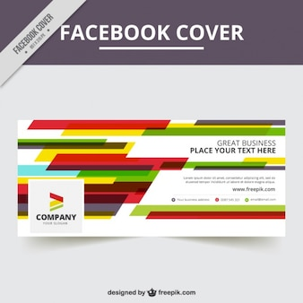 Facebook cover template with colorful abstract shapes