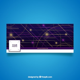 Facebook cover with abstract technological forms