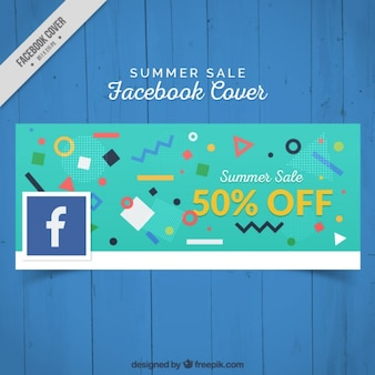Facebook cover with geometric shapes