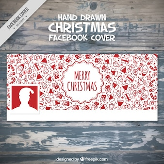 Facebook cover with hand drawn christmas objects