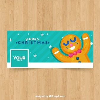 Facebook cover with happy christmas ginger