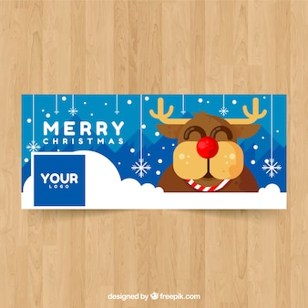 Facebook cover with happy reindeer