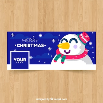 Facebook cover with happy snowman