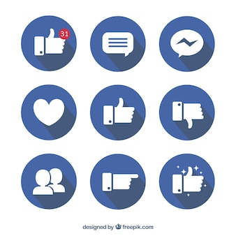Facebook icon collection in flat design