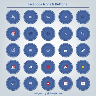 Facebook icons and buttons set
