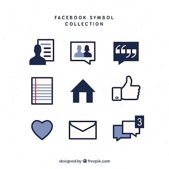 Facebook symbols set