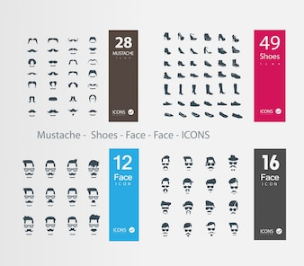 Faces and shoes icons