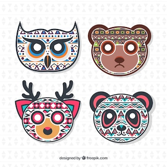 Faces of ethnic decorative animals