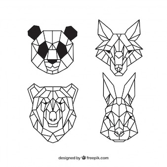 Faces of wild animals, geometric tattoos