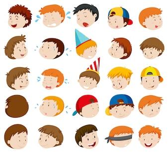Facial expressions of boys illustration