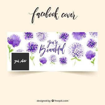 紫色の水彩花のFaebookカバー