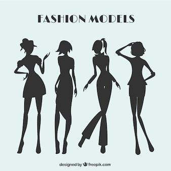 Fahion models solhouettes set