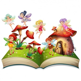Fairy on a book with mushrooms