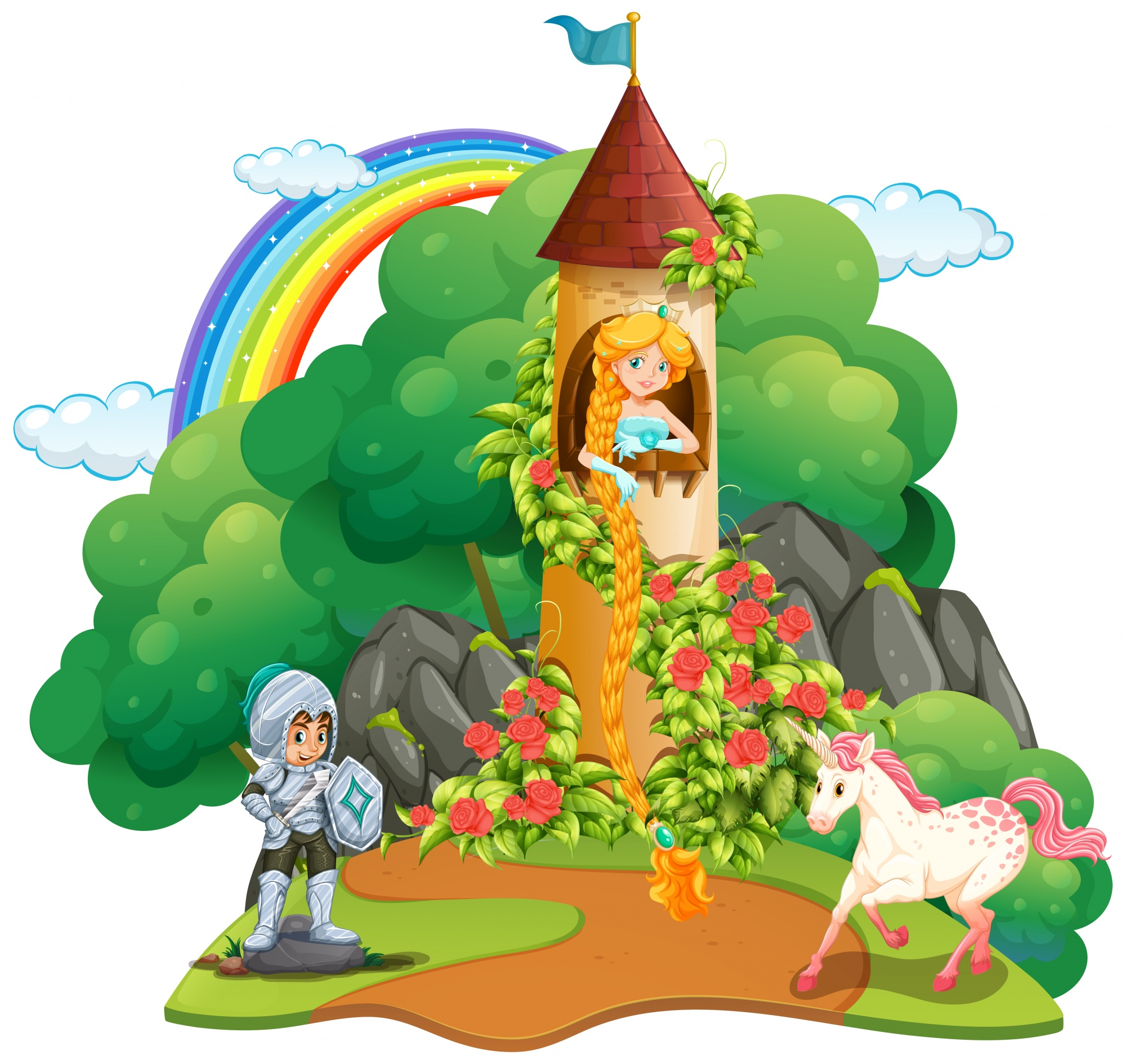 Fairytale scene with knight and princess