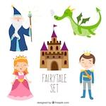 Fairytale set flat design