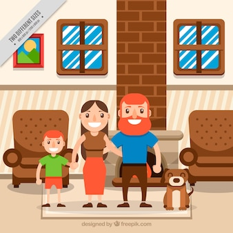 Family and pet background in the interior of a house