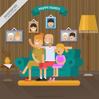 Family background having fun in the living room in flat design