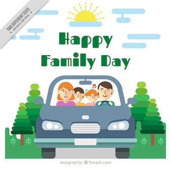 Family background in a car with children singing