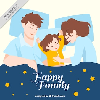 Family background sleeping with a stars blanket