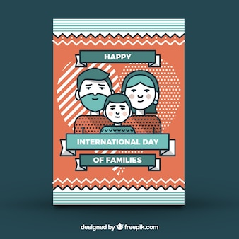 Family day greeting card with geometric forms