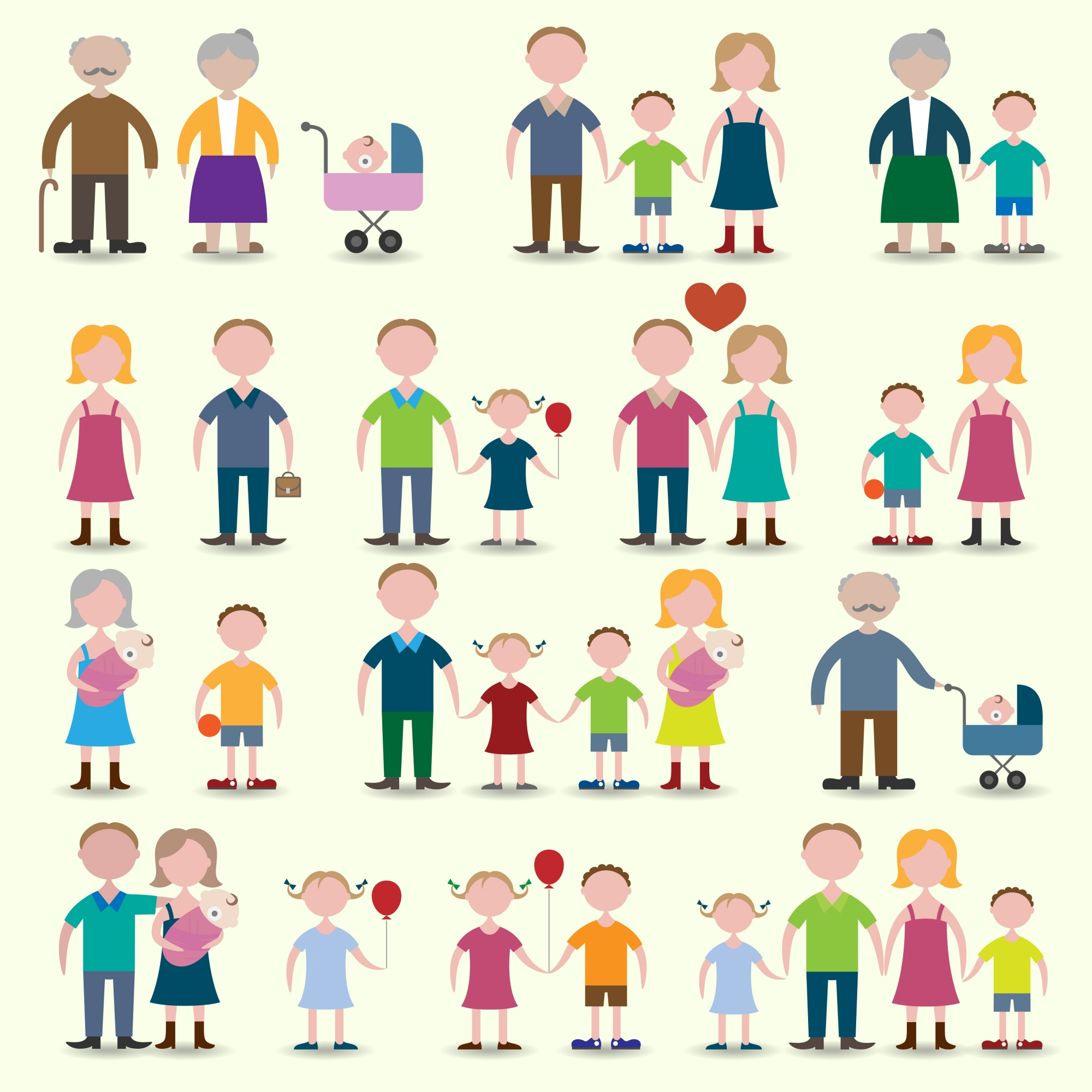 Family figures icons set of parents children couple isolated vector illustration