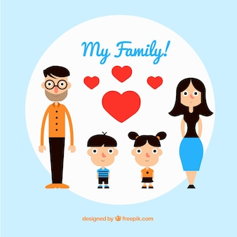 Family in flat design with hearts