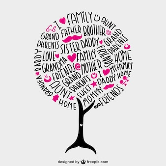 Family lettering tree with pink hearts