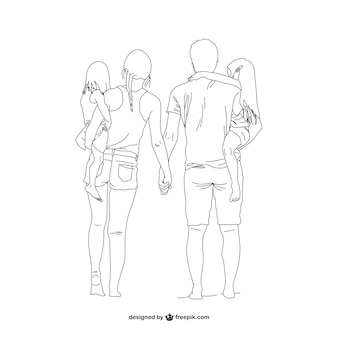 Family line art vector
