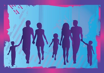 family silhouette over grunge background