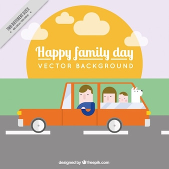 Family travel in flat design
