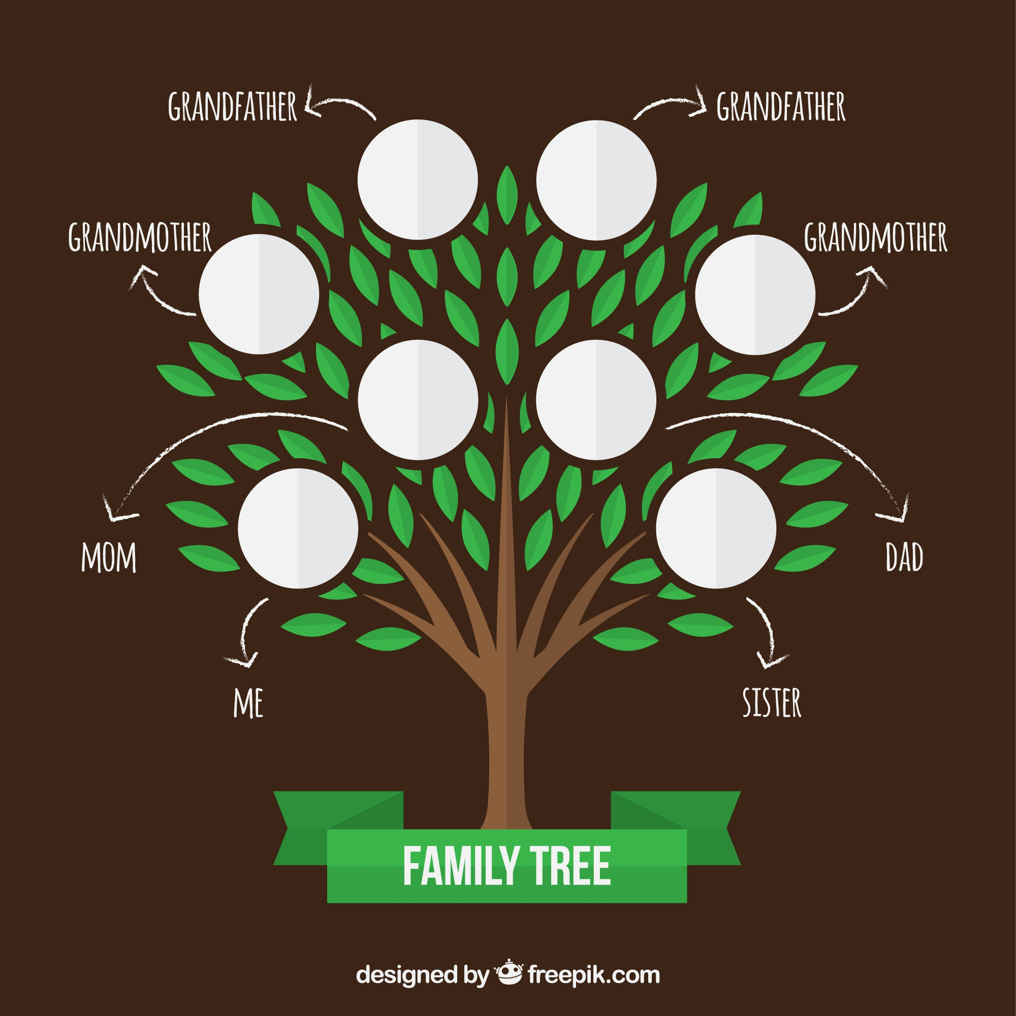 Family tree with green leaves and arrows