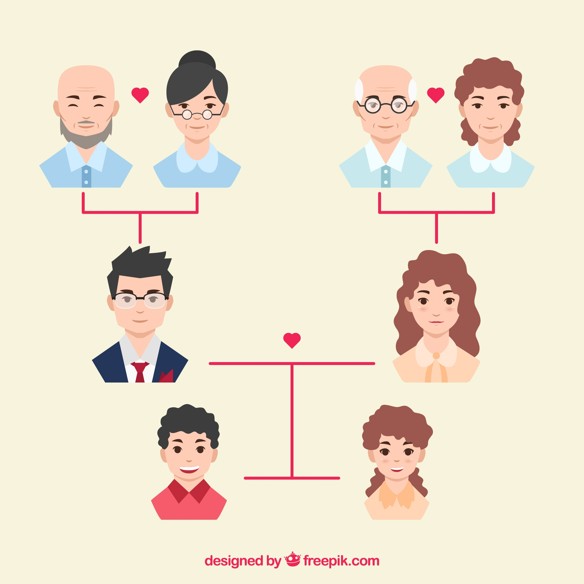 Family tree with happy members in flat design