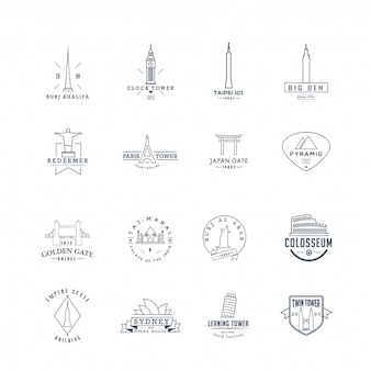 Famous buildings logo collection