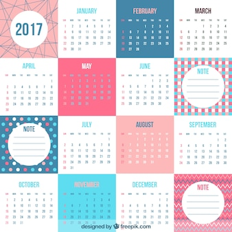 Fantastic 2017 calendar in flat design