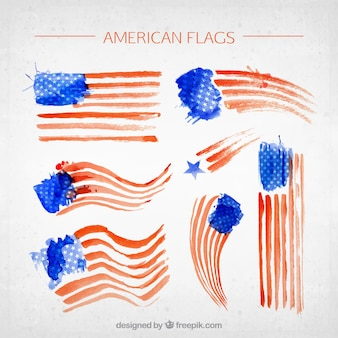 Fantastic american flags in watercolor style