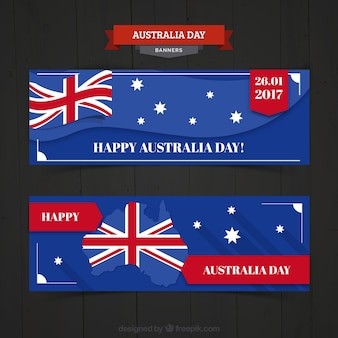 Fantastic australia day banners in flat design