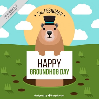 Fantastic background for groundhog day in flat design