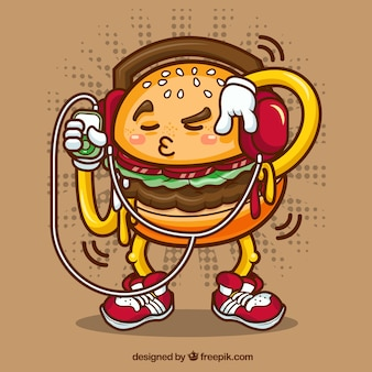 Fantastic background of funny burger character