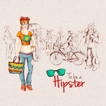 Fantastic background of hipster woman