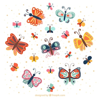 Fantastic background with colored butterflies