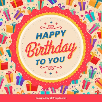 Fantastic background with colorful birthday gifts
