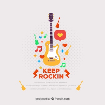 Fantastic background with electric guitar and colored elements